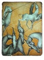Grafika do salonu artysty Anna Starowoitowa pod tytułem Spacer niebieskie konie