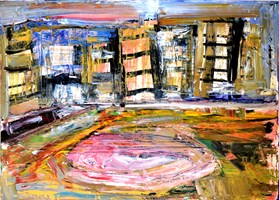 Living room painting by Paweł Kleszczewski titled Untitled urban view