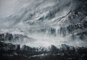 Living room painting by Andrzej Fronczak titled Mystery of the Mountain Valley II