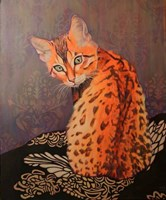 Living room painting by Janina Zaborowska titled Bengal cat