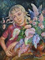 Living room painting by Śnieżana Vitecka titled Field flowers