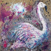 Living room painting by Magda Maciaszek titled White flamingo