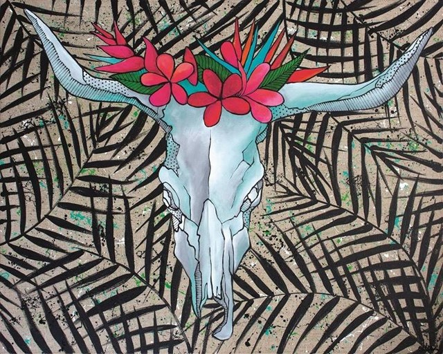 Living room painting by Monika Mrowiec titled Bull's exotica
