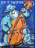 Living room painting by Edward Dwurnik titled The Musician