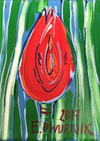 Living room painting by Edward Dwurnik titled Red Tulip II