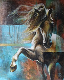 Living room painting by Kamila Karst titled The Copper Horse