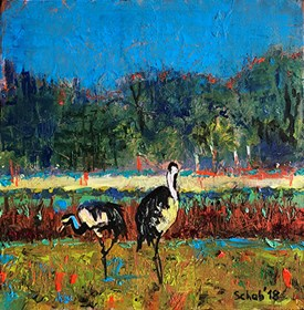 Living room painting by David Schab titled Cranes