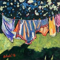 Living room painting by David Schab titled Laundry
