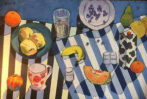 Living room painting by David Schab titled The Skripals breakfast