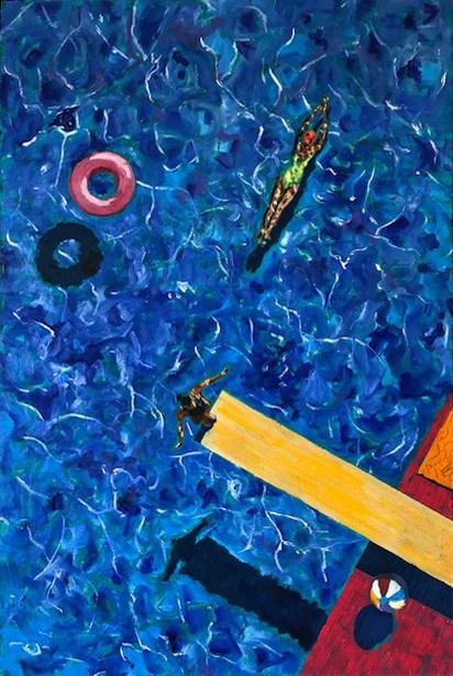 Obraz do salonu artysty David Schab pod tytułem Na basenie