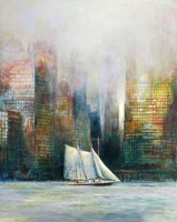 Living room painting by Katarzyna Kałdowska titled Sail in the City