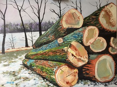 Living room painting by David Schab titled Cut down trees