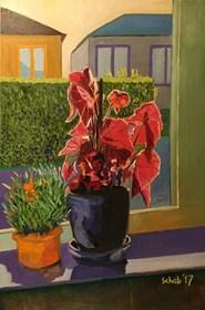 Obraz do salonu artysty David Schab pod tytułem Martwa natura z czerwonym kwiatem