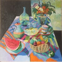 Living room painting by David Schab titled Still life with fruits