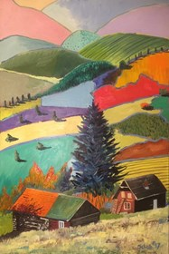Living room painting by David Schab titled Mountains