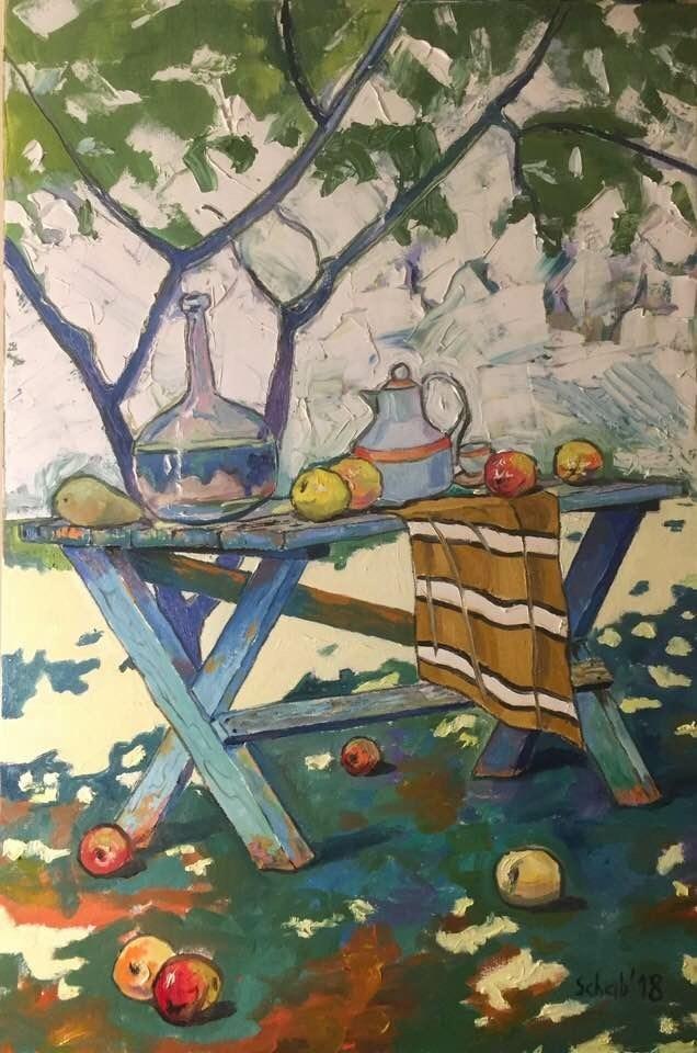 Obraz do salonu artysty David Schab pod tytułem W ogrodzie