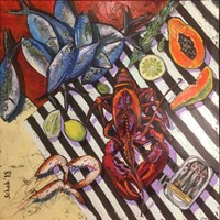 Living room painting by David Schab titled Still life with lobster