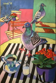 Living room painting by David Schab titled Still life with pigeon