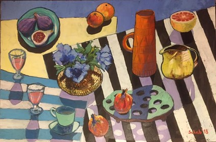 Living room painting by David Schab titled Still life with two jugs