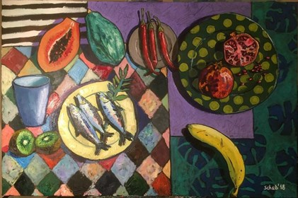 Living room painting by David Schab titled Still life with kiwi