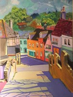 Living room painting by David Schab titled English Town