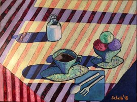 Living room painting by David Schab titled Still life with ice creams