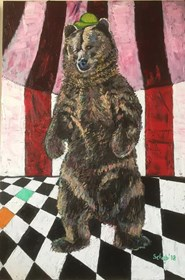Living room painting by David Schab titled Circus Bear