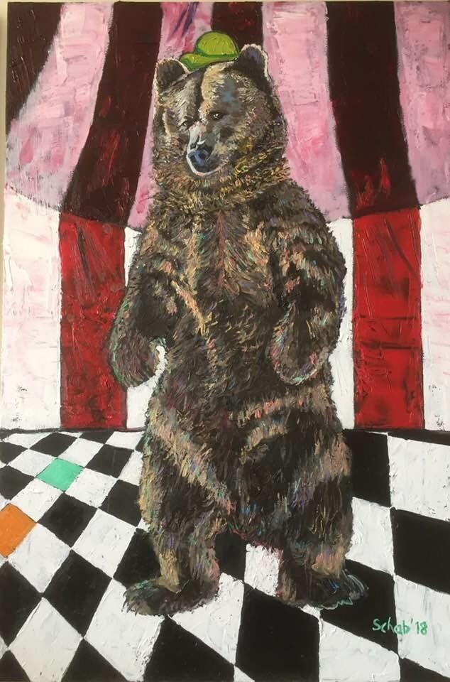 Obraz do salonu artysty David Schab pod tytułem Cyrkowy miś