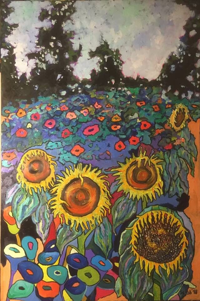 Living room painting by David Schab titled Sunflower meadow