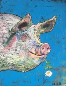 Living room painting by David Schab titled Vegan Pig