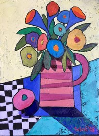 Living room painting by David Schab titled Still life with flowers