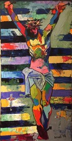Living room painting by David Schab titled Crucified Christ
