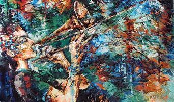 Living room painting by Krystyna Róż-Pasek titled She I