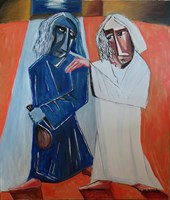 Living room painting by Tomasz Kuran titled Judas