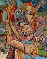 Living room painting by Tomasz Kuran titled David and Bathsheba
