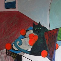 Living room painting by Tomasz Kuran titled Suprised Cat and Oranges