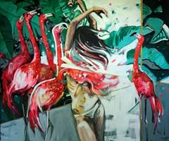 Living room painting by Kamila Jarecka titled Flamingos Lake