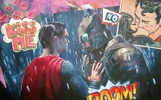 Obraz do salonu artysty Janusz Orzechowski pod tytułem When Batman  meets Superman