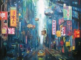 Obraz do salonu artysty Janusz Orzechowski pod tytułem Skyline 2039