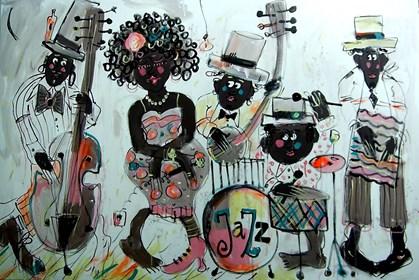 Obraz do salonu artysty Dariusz Grajek pod tytułem Jazz band