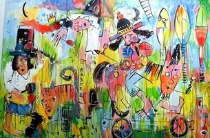 Obraz do salonu artysty Dariusz Grajek pod tytułem Królewna i rycerz