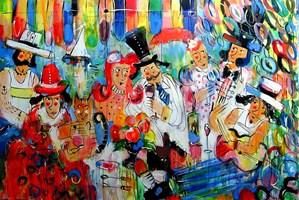Obraz do salonu artysty Dariusz Grajek pod tytułem Śniadanie na trawce