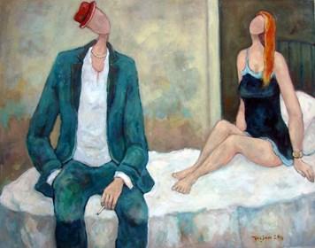 Obraz do salonu artysty Henryk Trojan pod tytułem Facet w czerwonym kapeluszu