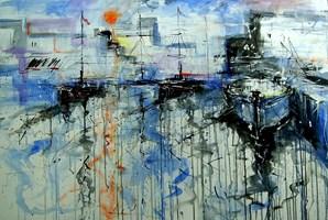Obraz do salonu artysty Dariusz Grajek pod tytułem Błekitny port 1
