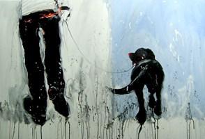 Obraz do salonu artysty Dariusz Grajek pod tytułem Pan i Labrador