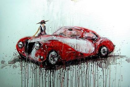 Obraz do salonu artysty Dariusz Grajek pod tytułem Dziewczyna i samochód