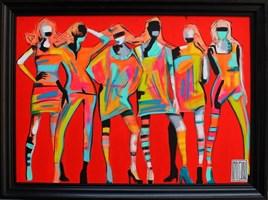 Living room painting by Wojciech Brewka titled Ladies