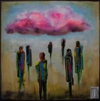 Living room painting by Wojciech Brewka titled Pink cloud