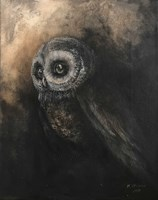 Living room painting by Klaudia Choma titled Owl