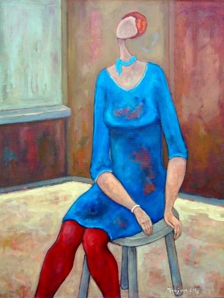 Obraz do salonu artysty Henryk Trojan pod tytułem Dziewczyna w czerwonych rajtuzach